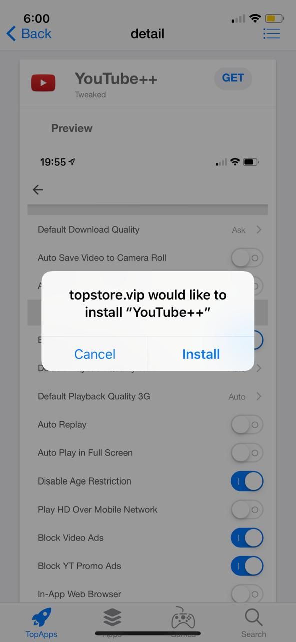 TopStore YouTube++ on iOS(iPhone/iPad) - No Jailbreak Required