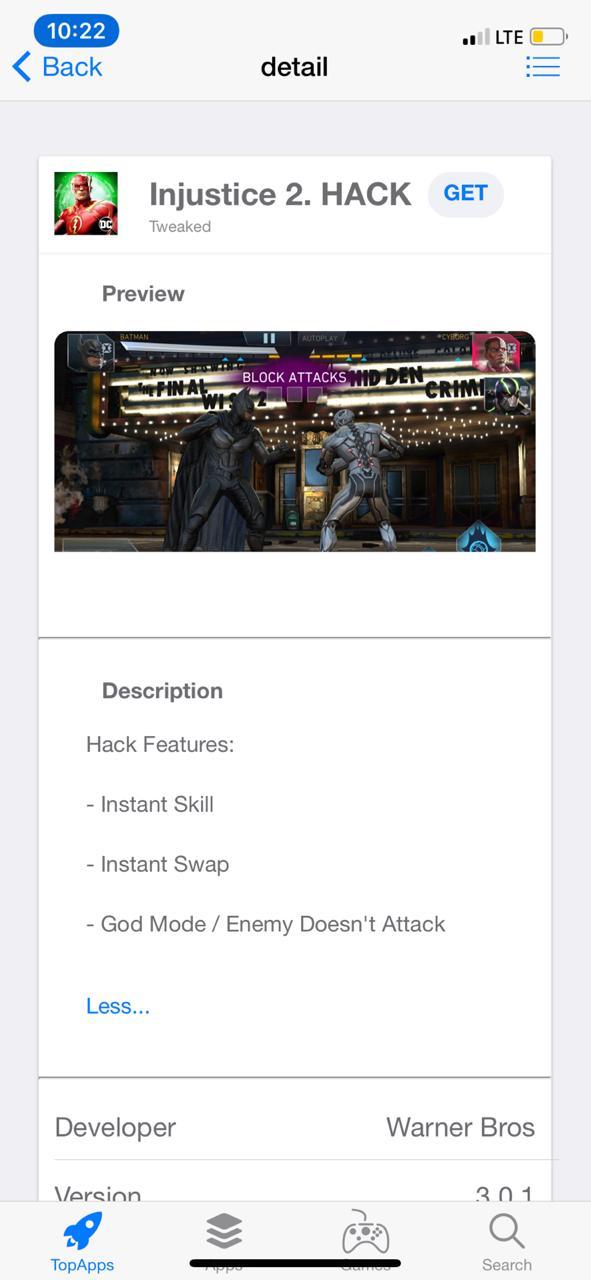 Get Injustice 2 Hack Game on iOS No Jailbreak - TopStore