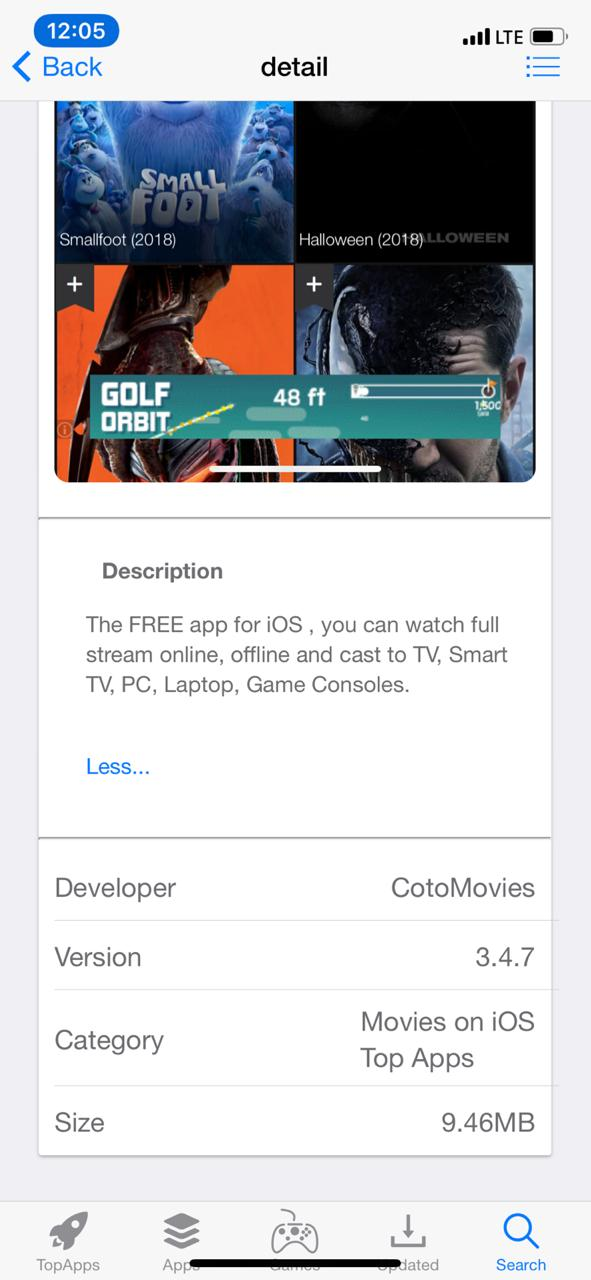 Coto Movies App - Features