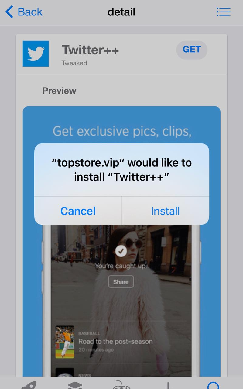 TopStore Install 'Twitter++'
