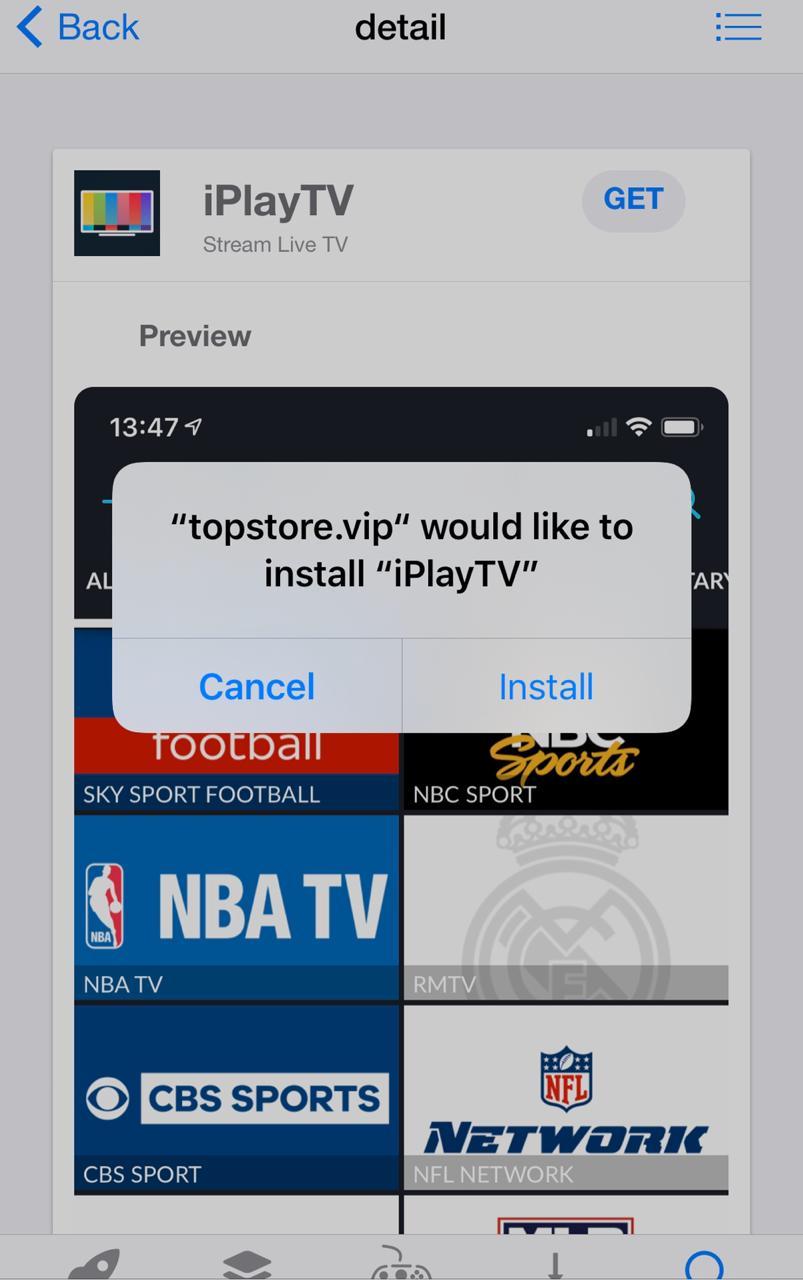 Insall iPlayTV on iOS