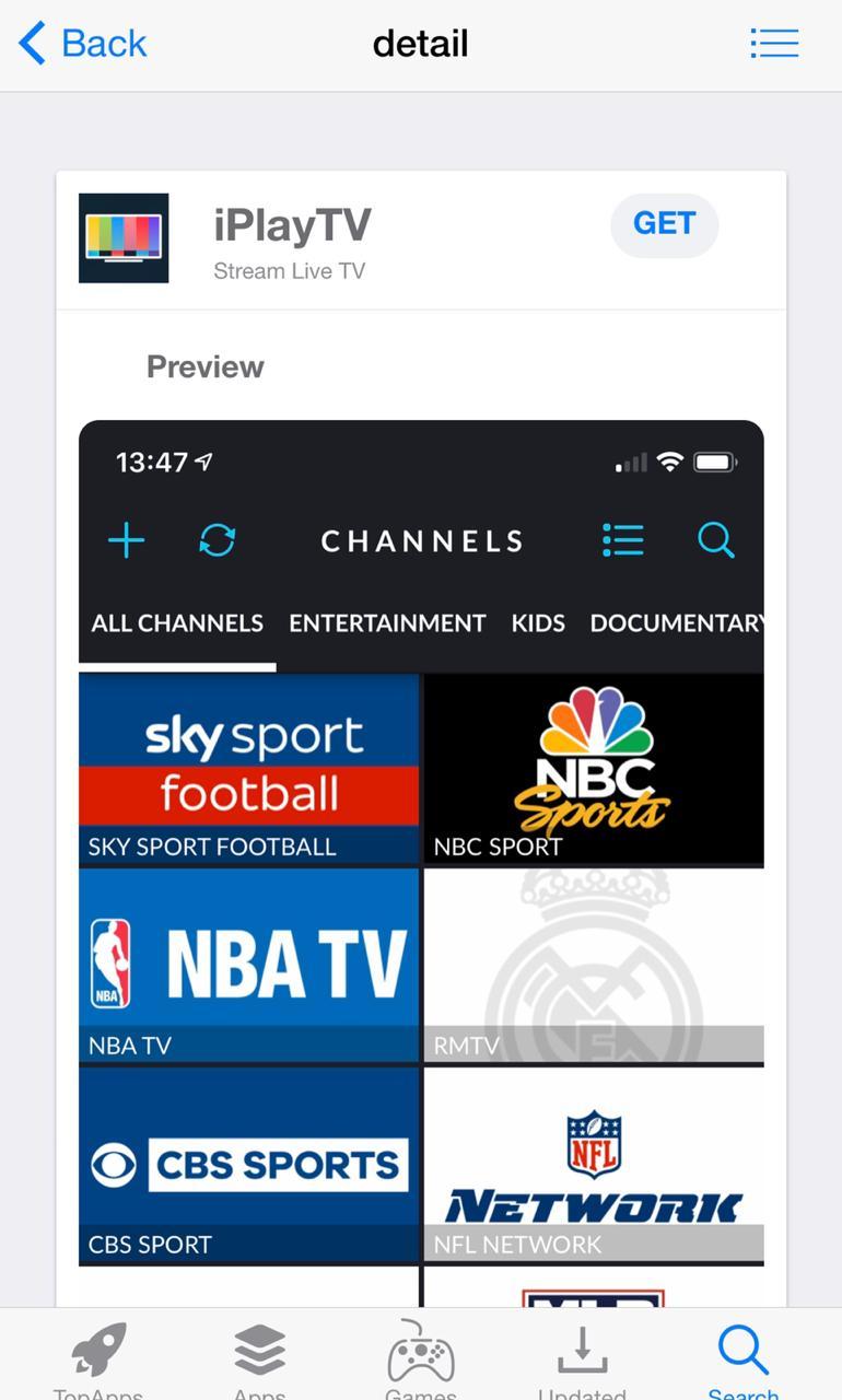 iPlayTV on iOS