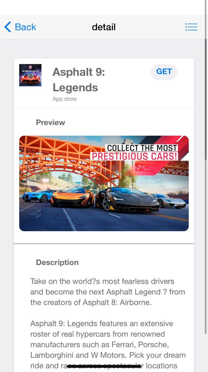 Asphalt 9 screen