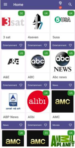 TVMob App User Interface for iOS